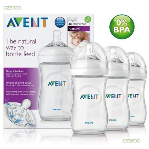 Philips AVENT Natural Newborn Feeding Bottle 260ml 3 Bottles BPA Free SCF693/37