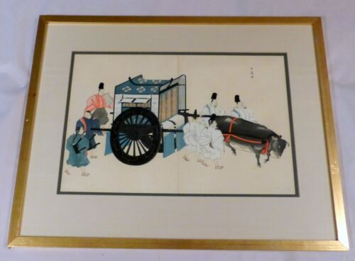 Framed Antique Japan Wood Block Print Royal Ox Drawn Palanquin with Guards 1