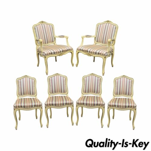 Set of 6 Vtg French Provincial Louis XV Style Cream Painted Dining Room Chairs