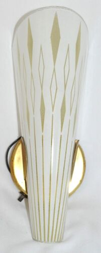 "Vintage 12"" Mid Century Modern Atomic Wall Sconce Lamp Light Slip Shade 2 / 2"