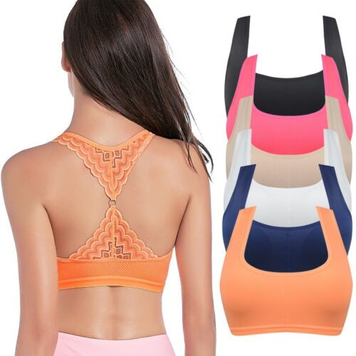 Women Lace Sports Bra Stretch Gym Fitness Athletic Racerback Vest Tank Tops New