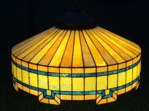 c.1910 Stained Slag Leaded Glass Hanging Lamp 4 Pull Chain Sockets 24 in. Wide