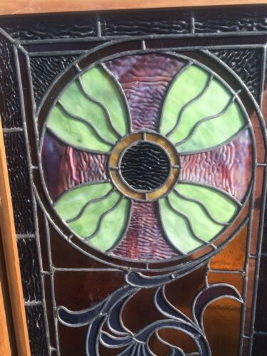 Pair FINE ANTIQUE STAINED GLASS WINDOWS