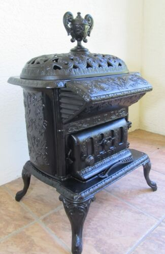 Antique Cast Iron Wood Burning Parlor Stove Garden Decor RUBY #7 Pittsburgh, PA