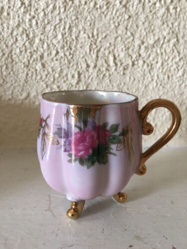 bone china 3 footed demitasse/ tea cup pink with rose iridescent and gold trim