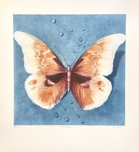 """Ltd. Ed. Mezzotint, """"Butterfly"""" Hand Signed by G.H. Rothe"""