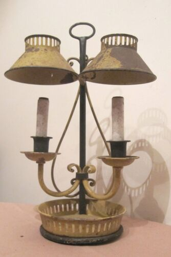 antique ornate rustic metal country home yellow electric table lamp tole shade