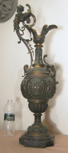 gigantic 1800's French Victorian antique figural gilt bronze marble ewer statue