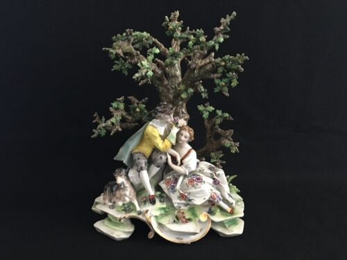 Antique German Dresden Porcelain Volkstedt Porzellan Manufaktur Lovers Courting