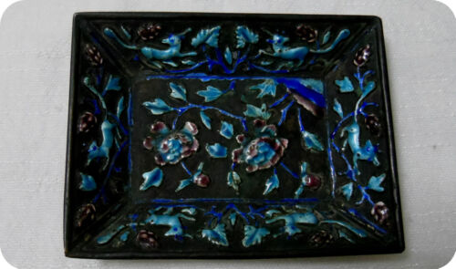 ANTIQUE 19th C CHINESE CLOISONNE REPOUSSE ENAMEL SMALL TRAY