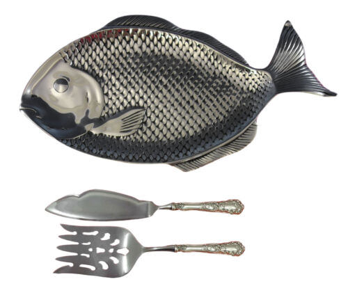 Wilton Armetale Fish Tray + 2-pc Buttercup by Gorham Sterling Fish Serving Set