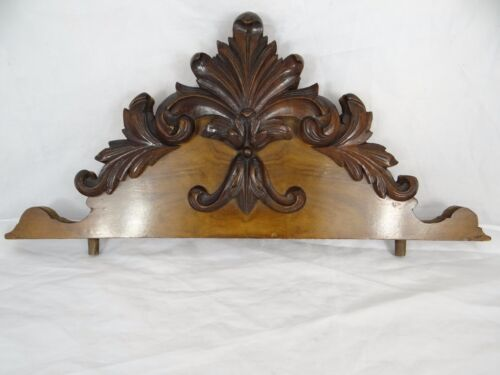 "19 "" Beautiful  Antique French Hand Carved Pediment 19 th - Walnut"