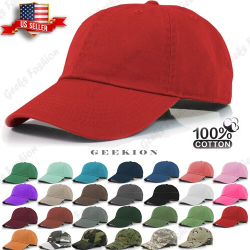 Plain Adjustable Military Solid Washed Cotton Polo Style Baseball Cap Caps  Hat e25672b8a592