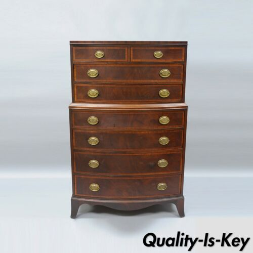 Antique Banded Mahogany 8 Drawer Chest on Chest Bow Front Dresser Traditional