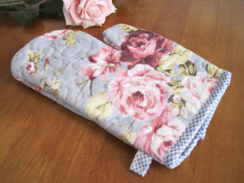 Coming Again Beautiful Rose Blue Cotton Quilted Oven Mitt Pot Glove