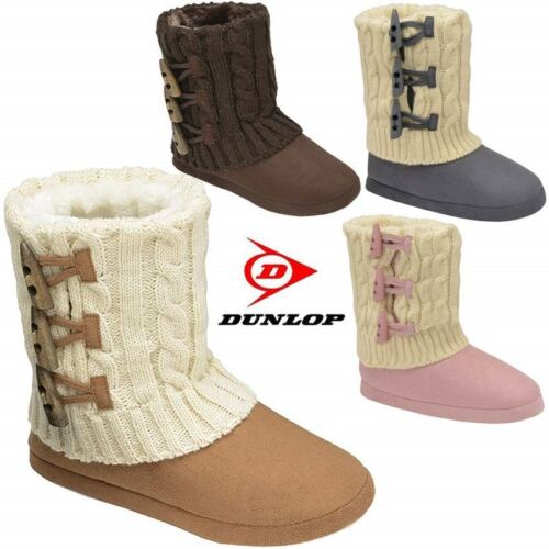 Ladies Slippers Womens Dunlop Boots Ankle Knitted Winter Warm Fur Booties Size