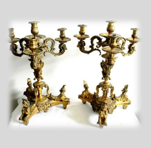 Antique pair French bronze candle holders gilt candelabra - ca 1860 - FREE SHIP