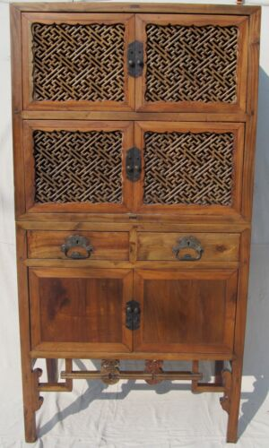FINE LATE 19TH CENTURY LATTICE WORK TWO PIECE ANTIQUE CHINESE CABINET