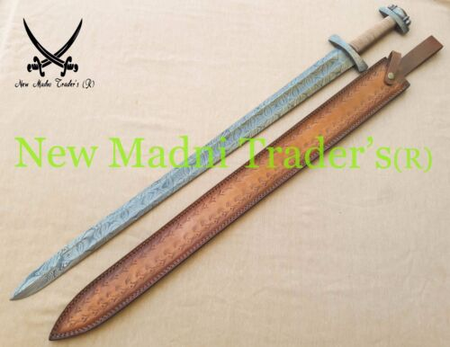 "38"" DAMASCUS HANDMADE DOUBLE SHADE WIRE HANDLE VIKING SWORD"