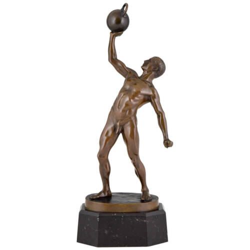 Art Deco bronze male nude sculpture athlete playing shot put signed Peleschka