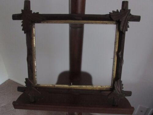 "Antique Adirondack-Tramp Art Frame -11-1/2"" X 10"" Carved Leaves - Victorian-Gilt"