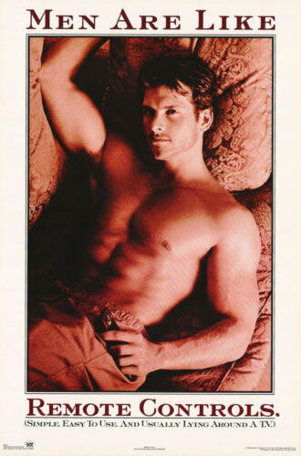 LOT OF 2 POSTERS :ART : MEN ARE LIKE REMOTE  - SEXY MALE MODEL   #3042    LW14 M