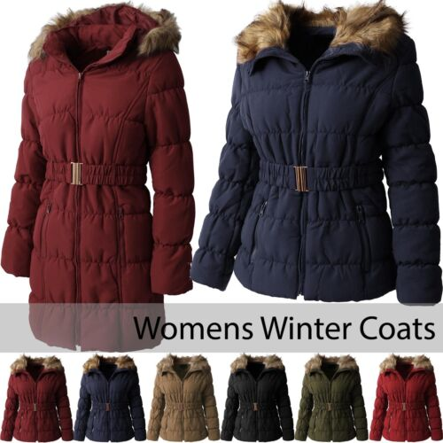 EC Womens COAT FUR LINED Jacket Warm Quilted Insulated Puffer Winter Parka Belt