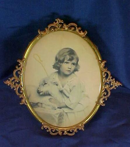 Antique Little Girl with Lamb & Staff Oval Brass Frame Decorative Edge