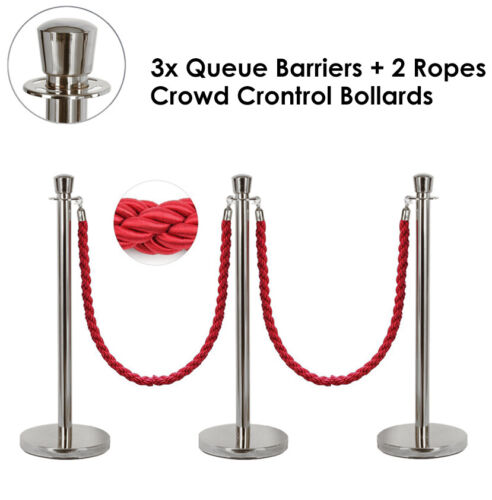 """3x Queue Barriers + 2 Ropes Crowd Control Bollards Stands (SILVER WITH RED ROPE) <br/> Fast Shipping Extra 10% off CODE """"PHOENIX"""", Tax inv GST"""