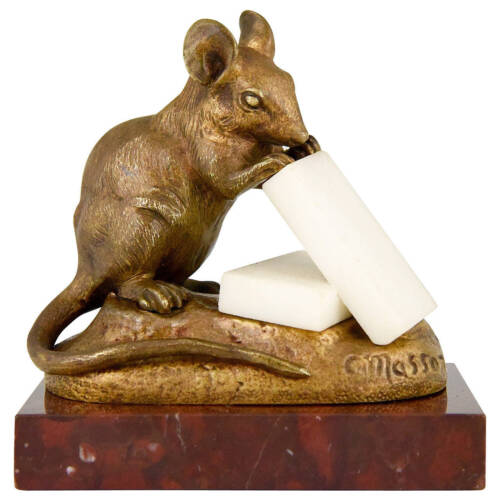 Antique French bronze mouse with cheese by Clovis Masson, 1890 original