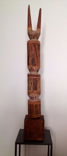 """Antique African carved and painted horned totem scupture - 38"""" tall"""