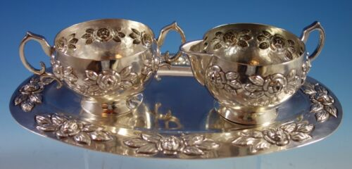 Aztec Rose by Sanborns Mexican Sterling Silver Sugar Creamer Tray 3pc Set #1856