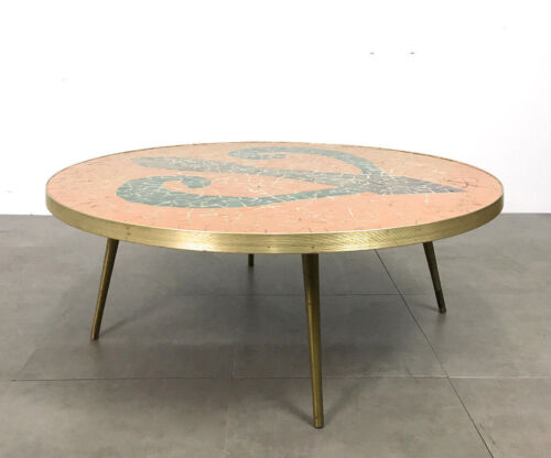 Vintage Roung Mosaic Tile Brass Coffee Cocktail Table Mid Century Modern Italian