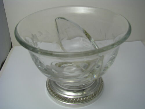 AMERICAN CUT GLASS BOWL CONDIMENT DISH STERLING SILVER BASE USA ca1950s Excel