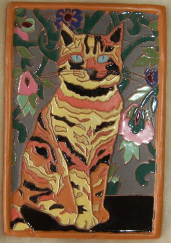 Art Deco Arts and Crafts Multi-color CAT tile Cat Lovers