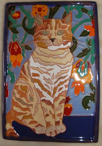 Art Deco Arts and Crafts tortoise kitty CAT tile Cat Lovers
