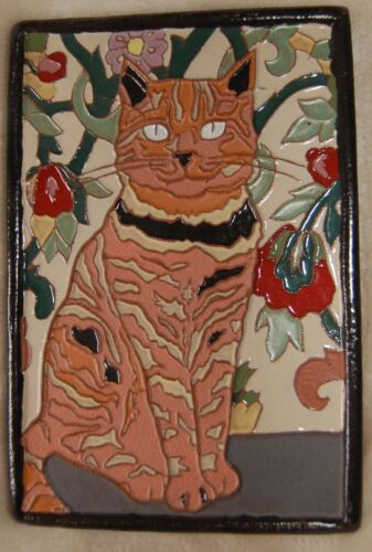 Art Deco Arts and Crafts tan brown CAT tile Cat Lovers