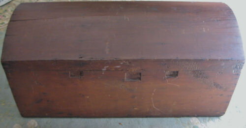 Antique Dome Top Immigrant Style Chest (1800's) Hand Forged Elements Primitive