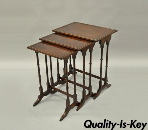 Set of 3 Nesting End Side Tables Mahogany Wood Faux Bamboo Georgian Style vtg