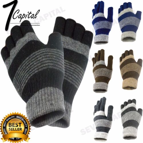 Mens Womens Winter Warm Knit Wool Fingerless Half Finger Magic Gloves Mitten