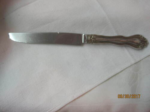 Antique 1904 Wallace Sterling Silver blunt hollow 2 Dinner Knives Hampton (JM)