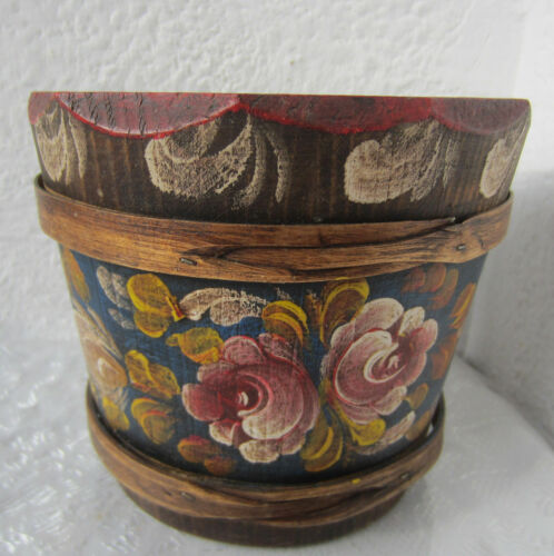 hand painted wooden bucket / bowl / box Antique, vintage wood