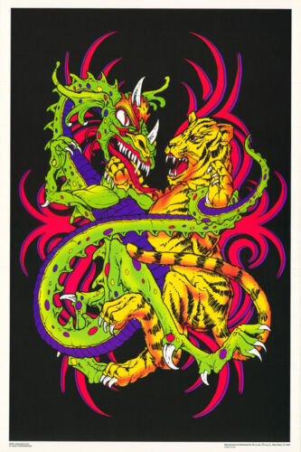 LOT OF 2 POSTERS : PSYCHEDELIC : BLACKLIGHT: TIGER & SERPENT   #FL3252S   LP38 N
