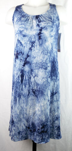 NEW Liz Lange Maternity Tie-Dye Dark Blue Racer-Back Rayon/Spandex Tank Dress XS