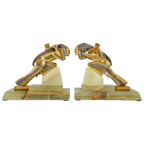 French Art Deco gilt bronze Indian bookends by Gibert 1930 onyx base original