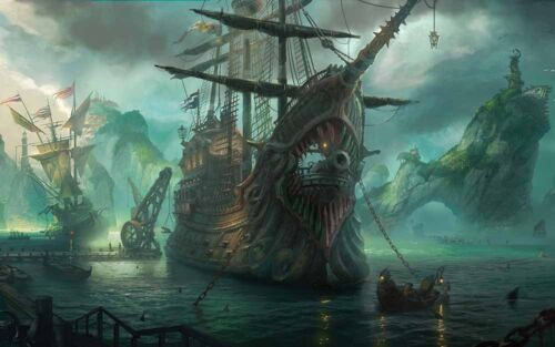 Artwork Pirates Ship Boat Oil Painting Printed On Canvas Home Art Wall Decor II