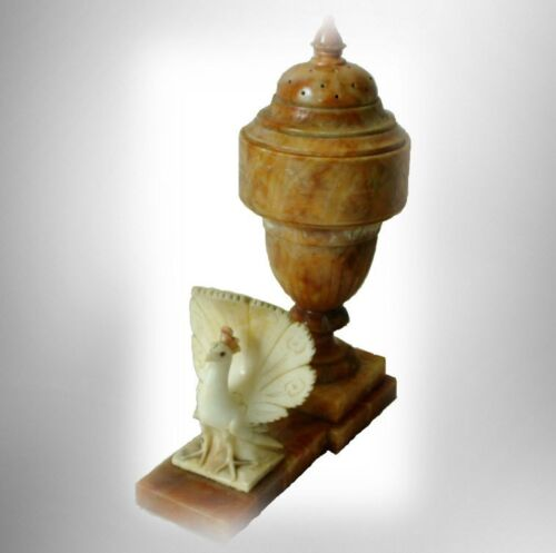 Marble table lamp in orange color with carved peacock decoration FREE SHIPPING