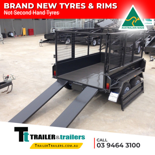 "8x5 TANDEM AXLE HEAVY DUTY HYDRAULIC TIPPER CAGE TRAILER | 15"" SIDES + RAMPS"