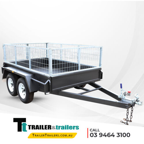 8x5 TANDEM AXLE BOX TRAILER - 2ft CAGE -REAR BARN DOORS -1990kg GVM -NEW TYRES