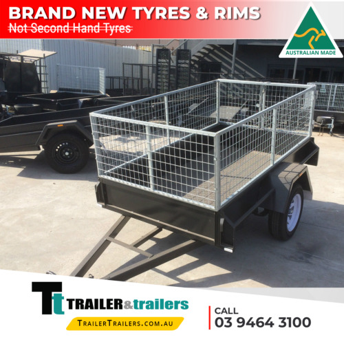 7x4 CAGE TRAILER - 2FT CAGE - 750 KG GVM - CHECKER PLATE FLOOR - NEW TYRES
